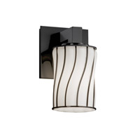 Wire Glass 1 Light 5 inch Matte Black Wall Sconce Wall Light in Swirl with Opal, Cylinder with Flat Rim