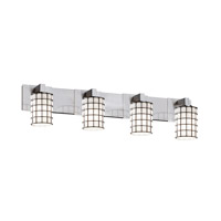 Wire Glass 4 Light 35 inch Brushed Nickel Bath Bar Wall Light in Grid with Opal, Cylinder with Flat Rim