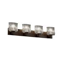 Justice Design Wire Glass Modular 4-Light Bath Bar in Dark Bronze WGL-8924-30-SWCB-DBRZ