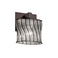 Wire Glass 1 Light 7 inch Dark Bronze ADA Wall Sconce Wall Light in Swirl with Clear Bubbles