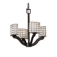 Justice Design Wire Glass Bend 4-Light Chandelier in Dark Bronze WGL-8970-30-GROP-DBRZ