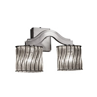 Justice Design Wire Glass Bend 2-Light Wall Sconce (Style 2) in Brushed Nickel WGL-8975-30-SWCB-NCKL
