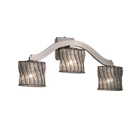 Justice Design Wire Glass Bend 3-Light Wall Sconce (Style 2) in Brushed Nickel WGL-8976-30-SWCB-NCKL