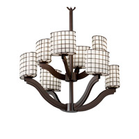 Justice Design Wire Glass Bend 8-Light 2-Tier Chandelier in Dark Bronze WGL-8978-30-GROP-DBRZ photo thumbnail