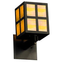 Justice Design WIN-8740-MBLK-GAMB Windows Plus Window 1 Light 5 inch Matte Black Wall Sconce Wall Light