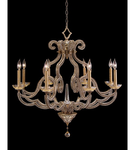 John Richard Ajc 8680 Paris 8 Light 34 Inch Gold Leaf Chandelier Ceiling Hand Painted