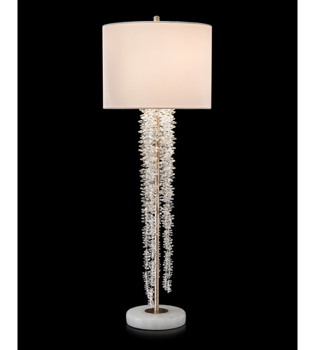 John Richard JRL-9394 Cascading Crystal Waterfall 40 inch 60 watt Antique Silver and White Table Lamp Portable Light photo thumbnail