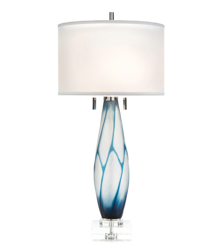 White and Blue Glass Table Lamps