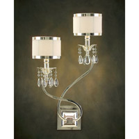 Lombard 2 Light 14 inch Silver and New Oyster White Wall Sconce Wall Light