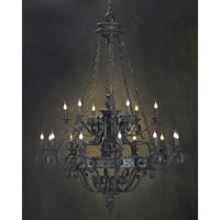 John Richard Black Iron 18 Light Chandelier in Hand-Painted AJC-8469