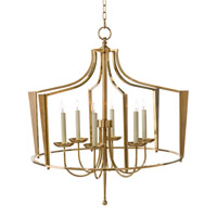 Bishops 6 Light 36 inch Honey Brass and Eggshell Chandelier Ceiling Light