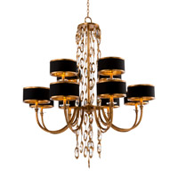 Black Tie 12 Light Gold Chandelier Ceiling Light