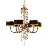 Black Tie 6 Light 35 inch Gold and Black Chandelier Ceiling Light