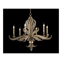 Beaded 6 Light 34 inch Antique Silver Chandelier Ceiling Light