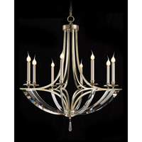 Bent 8 Light 39 inch Silver Leaf Chandelier Ceiling Light