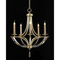 Bent 5 Light 24 inch Silver Leaf Chandelier Ceiling Light