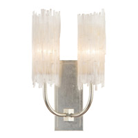 Natural Selenite 2 Light 12 inch Silver Leaf Wall Sconce Wall Light