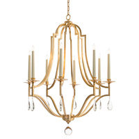 Signature 8 Light 38 inch Gold Leaf Chandelier Ceiling Light