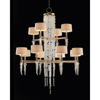 John Richard AJC-8884 Cascading Crystal Waterfall 12 Light 43 inch Antique Silver Leaf Chandelier Ceiling Light