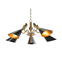 John Richard AJC-8978 Mid Century 5 Light 38 inch Brass Chandelier Ceiling Light
