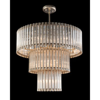 Crystal Tube 18 Light 38 inch Silver Leaf Pendant Ceiling Light