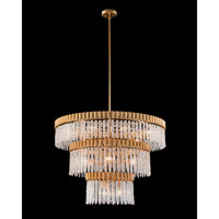 Crystal Icicle 18 Light 39 inch Gold Leaf Pendant Ceiling Light