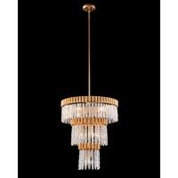 John Richard AJC-9011 Crystal Icicle 10 Light 25 inch Gold Leaf Pendant Ceiling Light