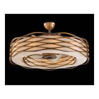 Ribbons of Gold 12 Light 43 inch Gold Leaf Pendant Ceiling Light, With Fan