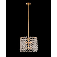 Crystal Chain 6 Light 20 inch Gold Leaf Pendant Ceiling Light