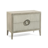 John Richard EUR-01-0262 Perth Grey Oak and Reeded Washed Beluga Drawer Chest, Two Drawers