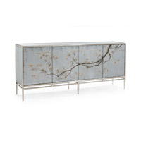 Falling Branch Eglomise Reverse Hand Painted Credenza