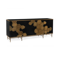 Honeycomb Black Glass Credenza