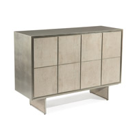 Lanark 54 inch Tiza Gesso and Silver Pewter Buffet Table Home Decor, Four Door