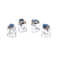 Geode Gold and Blue and Clear Napkin Ring, Set of 4