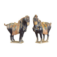John Richard JRA-7735S2 Ancient Chinese Tang Horses 18 X 18 inch Sculpture