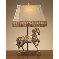 Signature 28 inch 150 watt Distressed Gold and Beige Horse Lamp Portable Light