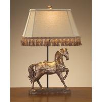 John Richard JRL-8191 Signature 28 inch 150 watt Distressed Gold and Beige Horse Lamp Portable Light