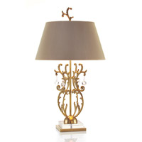 Foliage 34 inch 150 watt Brass and Clear Crystal Table Lamp Portable Light