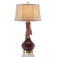 Bordeaux Ceramic 36 inch 150 watt Bordeaux and Light Beige Table Lamp Portable Light