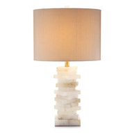 Block 31 inch 60 watt Alabaster and Gold Table Lamp Portable Light
