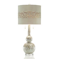 John Richard JRL-8697 Pearlescent 37 inch 60 watt Pearlized White and Clear Table Lamp Portable Light