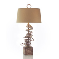 John Richard JRL-8740 Stacked 37 inch 150 watt Silver and Gold Table Lamp Portable Light