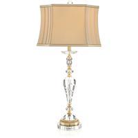 John Richard JRL-8871 Crystal Swirl 34 inch 60 watt Clear and Brass Table Lamp Portable Light
