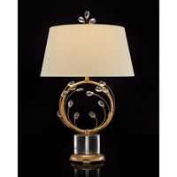 Blooms 31 inch 60 watt Gold Leaf and Clear Crystal Table Lamp Portable Light