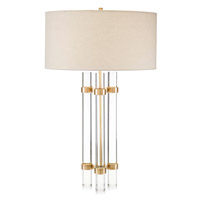 John Richard JRL-8990 Glass Spear 33 inch 150 watt Brass and Clear Glass Table Lamp Portable Light