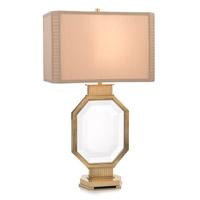 John Richard JRL-9093 The Asscher 29 inch 150 watt Brass and Crystal and Beige Table Lamp Portable Light