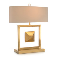 The Floating Pyramid 26 inch 60 watt Brass and Clear Acrylic Table Lamp Portable Light