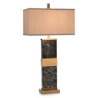 John Richard JRL-9163 Black Marble 35 inch 150 watt Brass and Black Marble Table Lamp Portable Light