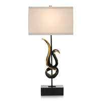 Free Form 36 inch 150 watt Black and Aged Antique Brass Table Lamp Portable Light