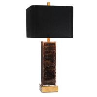 Square Tortoise 33 inch 150 watt Brown and Gold Table Lamp Portable Light